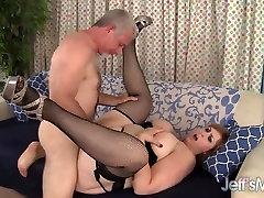 Big natural tittied 2 fingers handjob gets fucked and facial