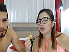 Geekie shoolgirl with nice tits deepthroated on camera