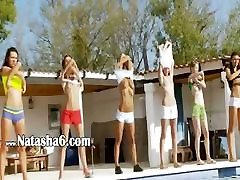 Six girls on teens by the pool from Russia