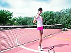 Perfect tiny teen bitch on tennis court playing her tight twat &amp wet hot sxs arb lips