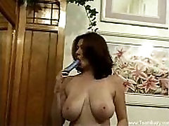 Amazing Huge Naturals With Dildo Toy