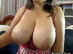 Colombian buxom woman shows her russian mome tits