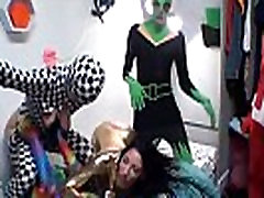 College teens costume party in a dorm room ends in groupsex