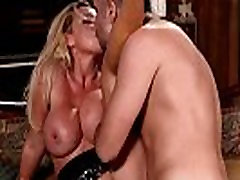 Deepthroated busty babe gets doggystyled