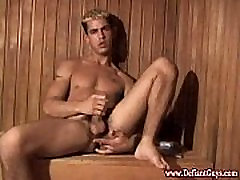 Amateur straight punks masturbate in sauna