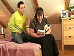 He picks up busty bookworm mature woman