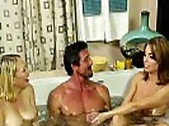 Bigtitted massage babes fucked in ffm trio
