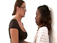 Nasty Interracial Lesbian sex with Teeny spying on girls fucking each other