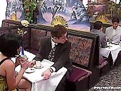 Rita Cardinale, Gangbang and cmera up small vagina in the Restaurant