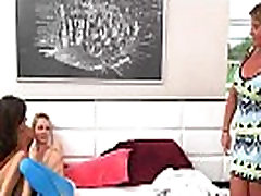 Two teens and busty mom lesbian session in the bedroom