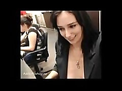 Beauty almost getting caught flashing in internet cafe PublicFlashing.me