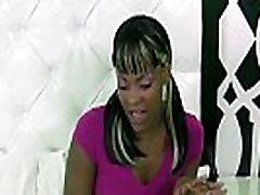Ebony agressive lesba swallows cum