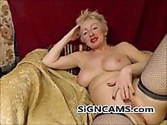 Charming Blonde Mature Masturbating