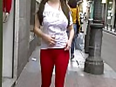 Red cameltoe walking down the street