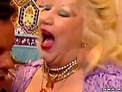 Wild chubby granny stuffed hard
