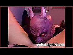 Blonde Sinner Throat Fucked by Satan&039s Midgets