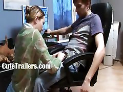 Russian babysitters fuck in the office