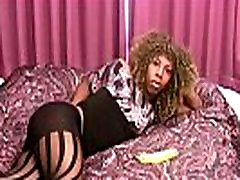 Black shemale toys her tight ass with banana and jerks off