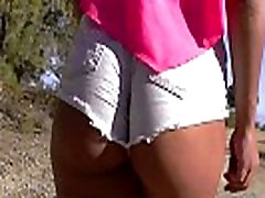 Ripped denim shorts, brunette teen beauty with cameltoe