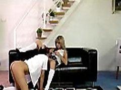 British MILF voyeur watches schoolgirl lesbians in stockings