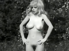 Vintage B&ampW Swedish blond with big boobs and hairy pussy dancing
