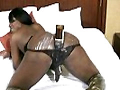 Ebony shemale with puffy nipples shoots cumload from hite video