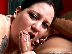 Super sexy big belly & boobs BBW gives an amazing sloppy blowjob