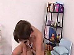 Lustful man kisses girl&039s milk shakes