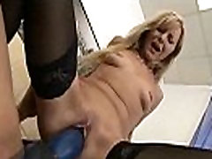 Blonde slut gets punished by a strapon before squirting