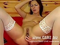Gilf web chat Brunette in playful mood and white stockings, serves pussy