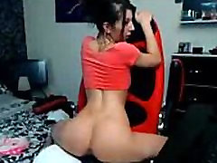 Hot young brunette rides dildo chair - www.newartcamgirls.com