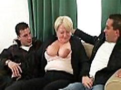 Hot threesome with boozed self facuial granny