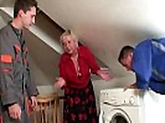 Naughty elissa nude pleases two repairmen