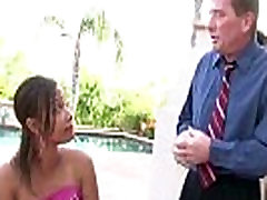 Hot ebony babe Jorani James gets a hardcore interracial with her stepdad