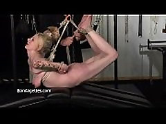 Blonde Weekays amateur suspension bondage and restrained damsel in distress hang