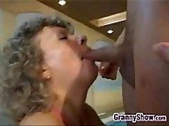 Grandma Getting A Creampie In A Threesome
