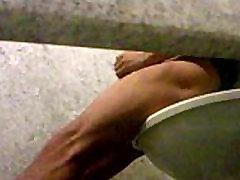Hot guy caught jerking in airport toilet