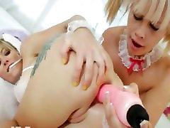 Blonde princesses bottom acrobats