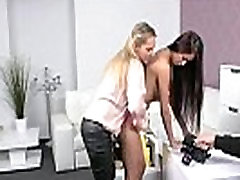 Brunette and her female boss licking each other