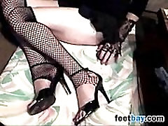 Woman In Fishnets And big sex bald hotel melay Teasing