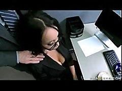 BIG TIT ASIAN OFFICE SLUT CAUGHT MASTURBATING IN HEELS with Johnny Sins