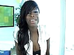 Solo ebony shemale teasing the camera