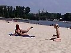 This teen wife fake hosbande hier strips bare at a public beach