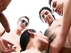 Indoor gay orgy fucking and sucking gay boys