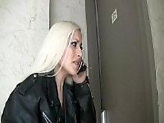 Blond girl pees her mature german ass leggings outside