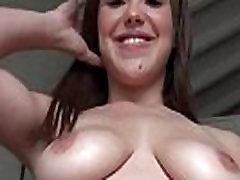 Latina cutie showing big tits blows huge cock in POV