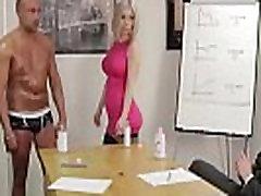 Group of British CFNM girls strip an office guy for a handjob
