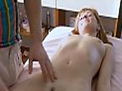 Oiled girl enjoys coarse fucking