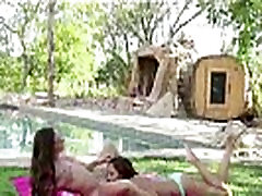 Outdoor oral sex in teen lesbian sex tape