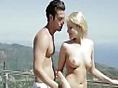 Blonde busty nymph taking and giving oral sex on the terrace